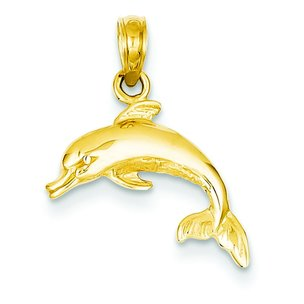 14K Gold Dolphin Charm