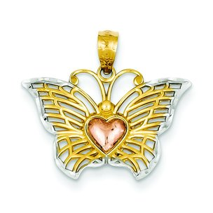 14K Tri Color Gold Butterfly Heart Charm Diamond Cut