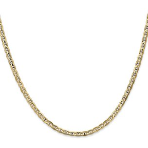 14K Gold 3mm Concave Anchor Chain