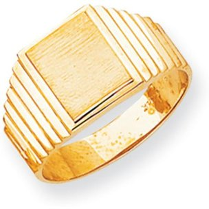 14 kt Yellow Gold 14k Mens Signet Ring Size 10