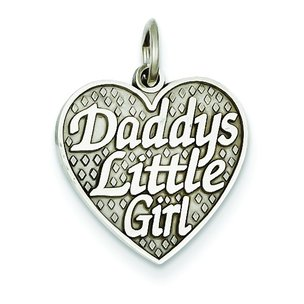 14K White Gold Daddys Little Girl Heart Charm