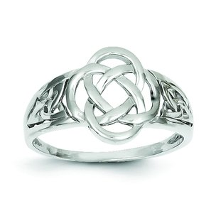 14K White Gold Celtic Knot Ring Size 7