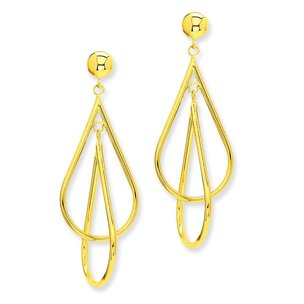 14K Gold Double Teardrop Dangle Earrings