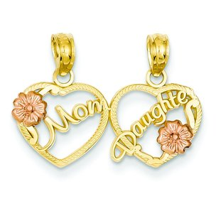 14K Two Tone Gold Mom Daughter Break Apart Hearts Pendant