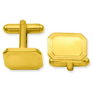 Gold Plated Rectangle Cuff Links