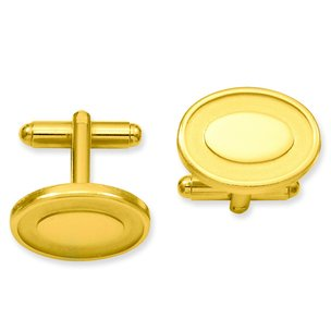 Gold Plated Oval Cuff Links