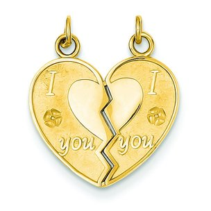 14K Gold I Love You Break Apart Heart Charm