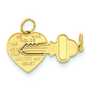 14K Gold Key To My Heart Charm