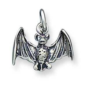 Sterling Silver Antiqued Bat Charm