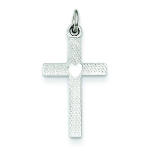 Sterling Silver with Heart Cross Charm
