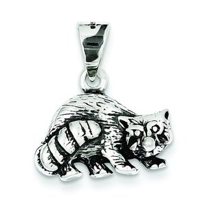 Sterling Silver Antiqued Raccoon Charm
