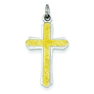 Sterling Silver Gold Plated Cross Charm