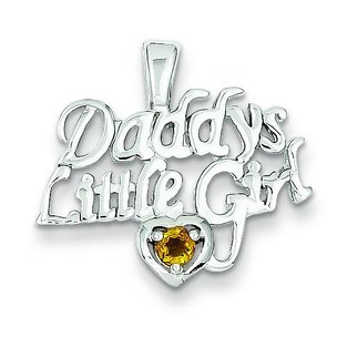 "Sterling Silver Citrine Daddy's Little Girl Charm & 18"" Chain"