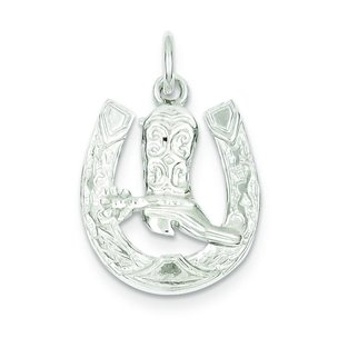 Sterling Silver Horseshoe Cowboy Boot Charm