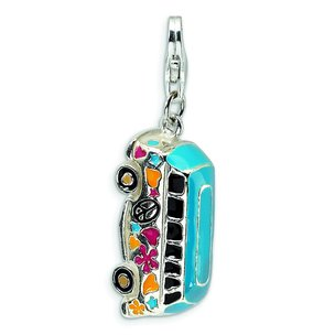 Sterling Silver Enameled Bus Lobster Clasp Charm