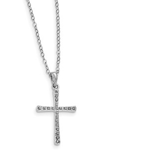930b8772a Sterling Silver IJ Diamond Cross Pendant. View Larger Image