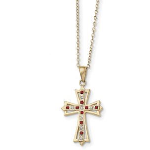 Ster Silver Gold Plated IJ|Red Diamond & Ruby Cross Pendant