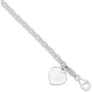Sterling Silver Heart Cable Charm Bracelet 8.5""