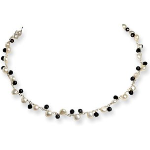 Sterling Silver Crystal Imitation Pearl Necklace 16""