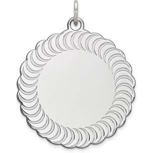 Sterling Silver Scalloped Round Charm