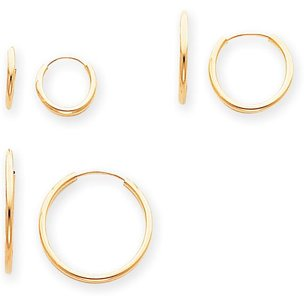 14K Gold 3 Pair Set Endless Hoop Earrings