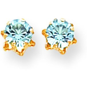 14K Gold Synthetic Aquamarine March Birthstone Earrings