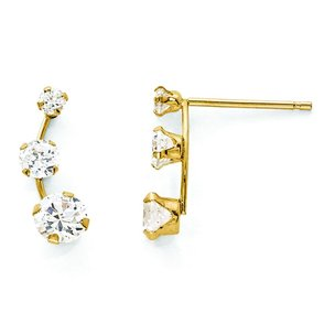 14K Gold Curved 3 Stone Cubic Zirconia Stud Earrings