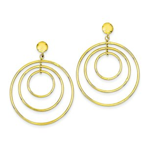 14K Gold Fancy Circle Dangle Earrings