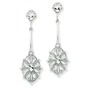 14K White Gold Fancy Dangle Earrings