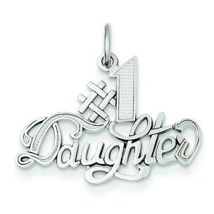 14K White Gold #1 Daughter Charm