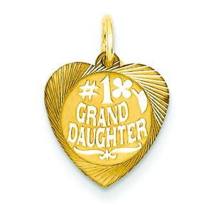 14K Gold #1 Granddaughter Heart Charm