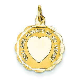 14K Gold You Are Always In My Heart Charm