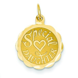 14K Gold Special Daughter Heart Disc Charm