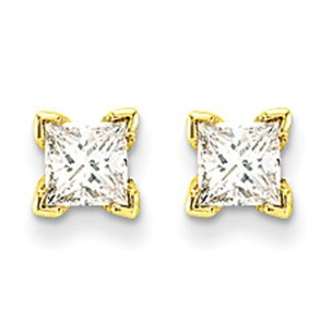 14K Gold .41cttw Princess Cut Diamond Stud Earrings