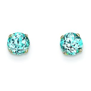 14K Gold Blue Topaz December Earrings
