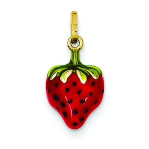 14K Gold Enameled Puffed Strawberry Charm
