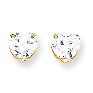 14K Gold Cubic Zirconia Heart Earrings 8mm