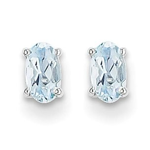 14K White Gold .66cttw Oval Aquamarine Stud Earrings