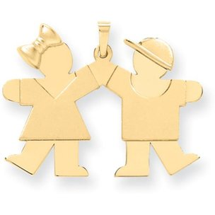 14K Gold The Kids Girl & Boy Charm