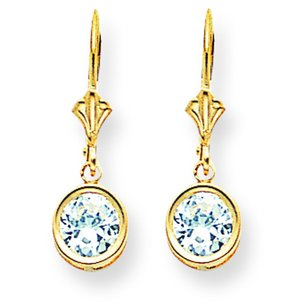 14K Gold Cubic Zirconia Lever Back Earrings 6mm