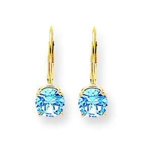 14K Gold Blue Topaz Lever Back Earrings 6mm