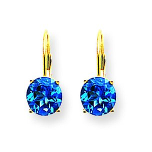 14K Gold Blue Topaz Lever Back Earrings 7mm