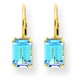 14K Gold Emerald Cut Blue Topaz Earrings 7x5mm