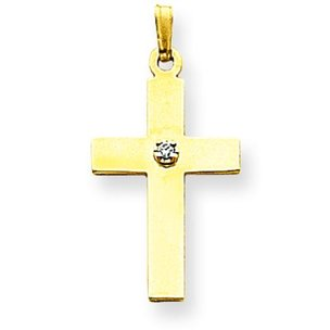 14K Gold .02ct Diamond Cross Pendant