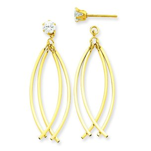 14K Gold Curved Cubic Zirconia Earrings