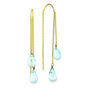 14K Gold Blue Topaz Threader Earrings