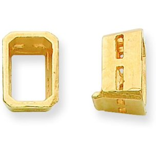 14K Gold Emerald Cut Airline Bezel Setting (3.00x5.00 to 8.00x10.00mm)