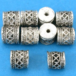 Bali Barrel Antique Silver Plated Beads 7mm 16 Grams 10Pcs Approx.