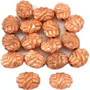 Bali Barrel Flat Oval Copper Plated Beads 9mm 15 Grams 15Pcs Approx.