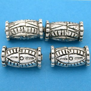 Bali Barrel Antique Silver Plated Beads 21.5mm 19 Grams 3Pcs Approx.